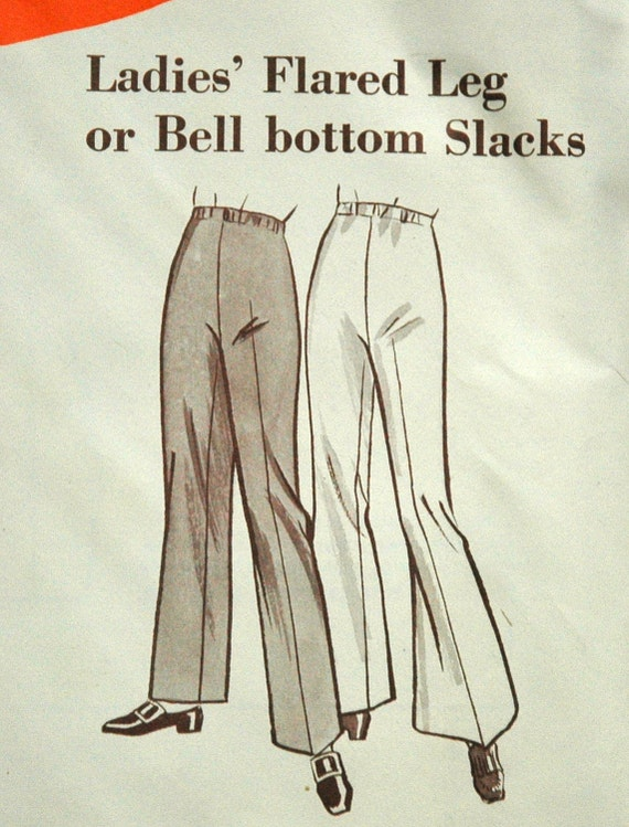 1960's Sew-Knit-N-Stretch Flared Leg or Bell Bottom Pants Pattern - S, M, L