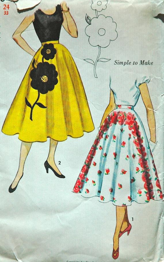 1950's Simplicity Skirt Pattern - Waist 24