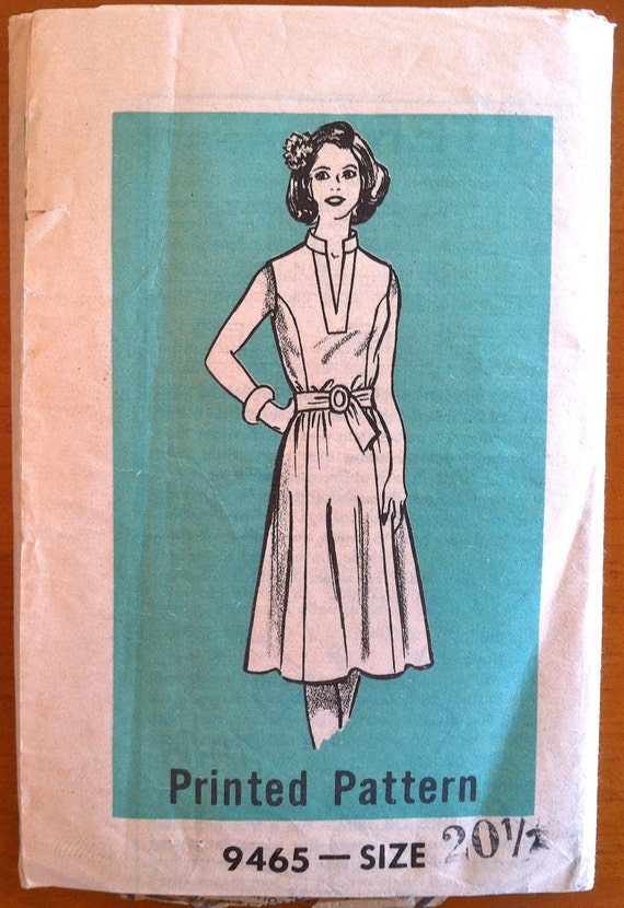 1960's Mail Order One Piece Belted Dress Pattern - Bust 43 - no. 9465