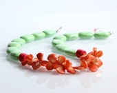 Turquoise and Coral Necklace - Green, Orange, Color Block, Tangerine, Mint, Lime