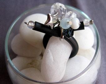 Adjustable Rhinestone and Glass Beaded Charm Ring