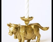 Metallic Gold Cow Candle Holder