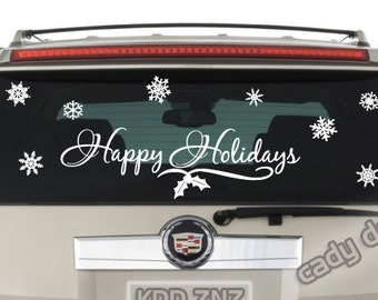Happy Holidays Window Decals with Winter Snowflakes | Christmas Decorations | Holiday Decor | Vinyl Window Sticker | Vinyl Lettering | 9x30