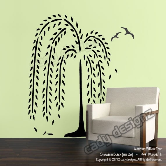 Wall Decor Stickers Penang : Weeping willow tree wall decal nursery decals home