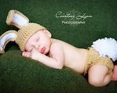Too Cute Newborn Baby Boy Crochet TAN Bunny Hat/Diaper Cover FREE  SHIPPING