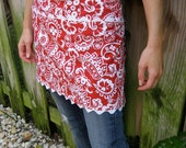 Aprons Half Apron Cafe Style Red & White Paisley Print