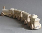 Wooden Toy Train.  Natural Wood Passenger Train.