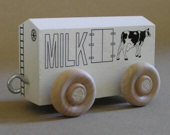 Wooden Toy Train MIlk Car