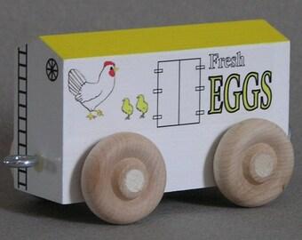 Wood Toy Train Egg Car