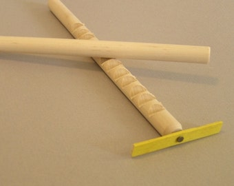 Hooey Stick with YELLOW spinner.  Also called a whimydiddle or gee-haw stick.  A natural wood toy.