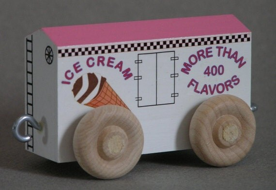 Ice Cream Car with Tutti Frutti roof.  For wooden toy train.