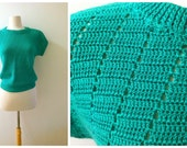 Slouchy Green Knit Sweater Short Sleeved 1980's
