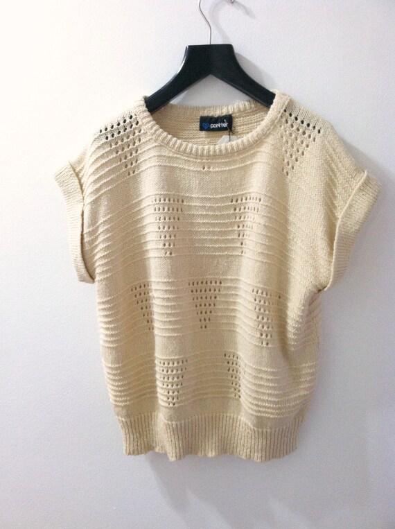 Cream Chevron Knit Sweater Short Sleeved 1980's