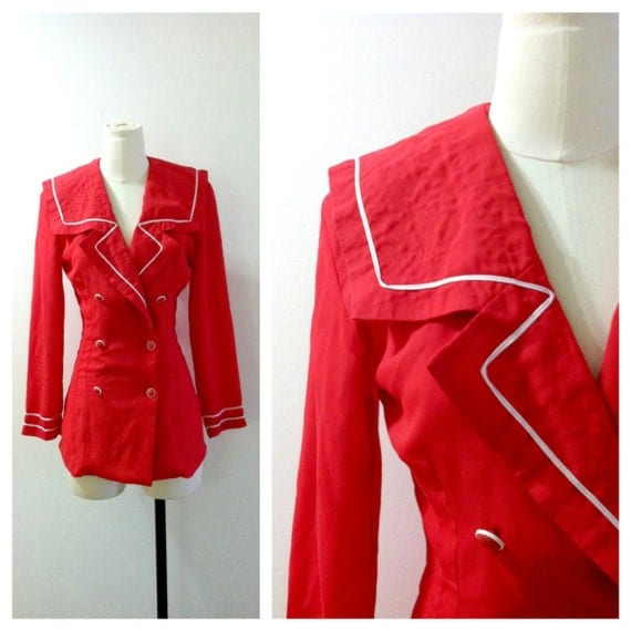 Nautical Sailor Blouse Red & White 1980's
