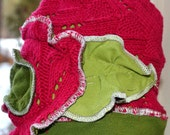 Pink and Green Children's Hat.  Adorable Flower design for your sweetie. Would fit infant/toddler.