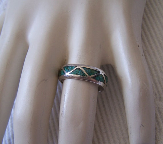 Mens Vintage Navajo Sterling Lapis Turquoise American Indian Wedding Band Ring Size 9.5