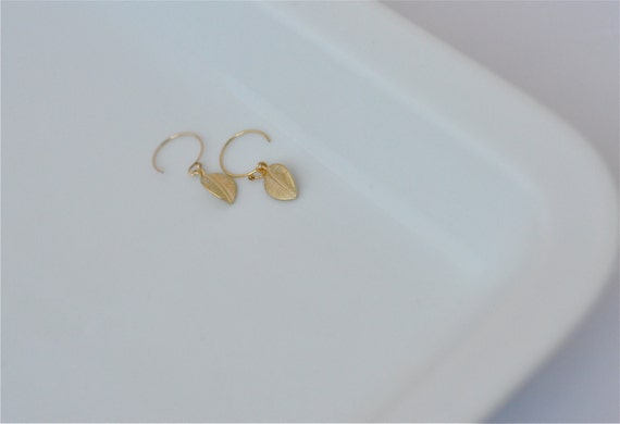 Turning Over a New Leaf--Mini Leaves Earrings, Gold Earrings, Leaf