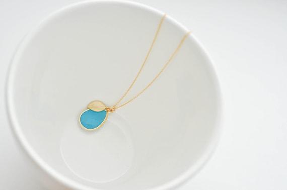 Bora Bora--Aqua Pendant and Gold Leaf on a Gold Filled Chain, Simple Gold Necklace