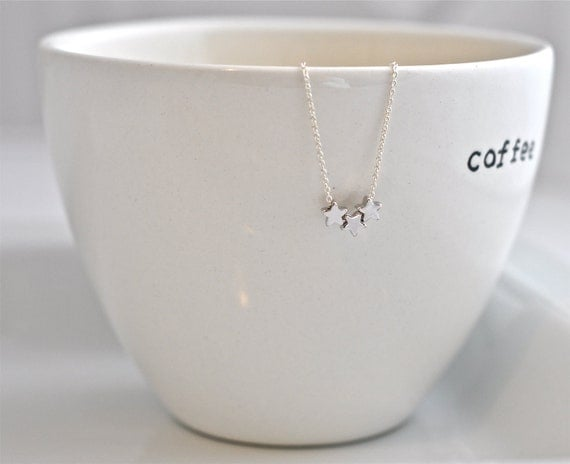 Wish Upon A Star Silver Ed.--Three Tiny Stars on a Sterling Silver Chain, Simple Silver Necklace, Silver Star Necklace, Mother's Day Gift