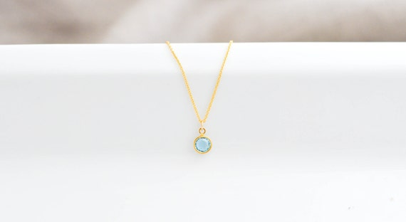 Fresh Rain--Blue Swarovski Pendant on a Gold Filled Chain, Bridesmaids Gift, Mother's Day Gift, Minimalist Necklace