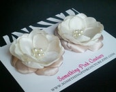 Set of Two - Vintage Inspired Bridal Flower Shoe Clips, Ivory & Beige Fabric Flowers with Pearl Cluster Centers - Flower Girl, Bridesmaids