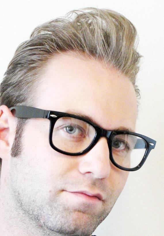 1980s 1950s Black Wayfarer Style CLEAR LENS Rockabilly Hipster Nerd Attitude Glasses