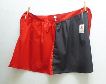 Black and Red Snoopy Half Apron