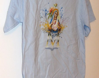 Immaculate Heart of Mary Light Blue T-Shirt S-M-L-XL