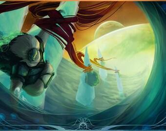 Deep Sea Fishing on moon 70MM3L - alien concept art fine art print LARGE