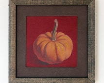 Pumpkin Drawing, framed