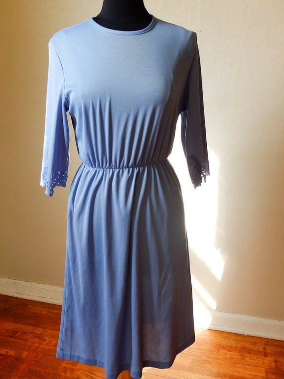 simple azure dress with lovely sleeve detail / medium / large