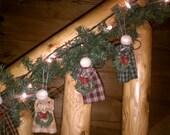 Plaid Homespun Angel Ornaments - Set of 4