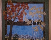 Fall Mountain Lake Landscape Quilt Wallhanging