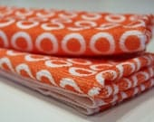 Orange Polka Dot Set of 2 Hand Towels, Micro Fiber, Kitchen, Drying, Decoration, Gifts, oran, Waffle Knit