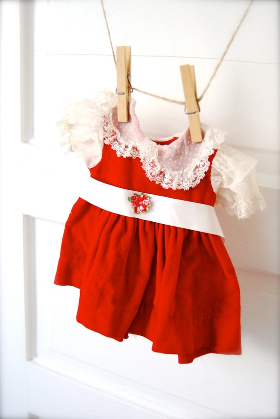 Vintage Red and White Doll Dress- Reserve for Amy