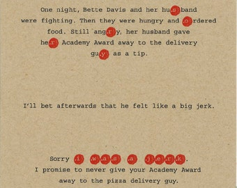 Sorry card, I was a jerk, Bette Davis card, Anecdote Line No. 7012
