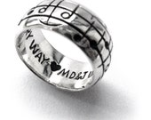 Your Song Ring - Any Song - One of a Kind - Sterling Silver - Personalized Unisex Gift - Unique Design - Rickson Jewellery