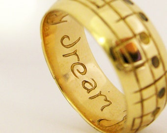 Your Song Wedding Ring - Any Song - One of a Kind - 10 Karat Yellow Gold - Personalized Unisex Gift - Unique Design