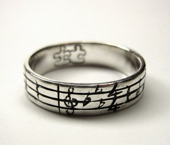 Your Song Ring - Thin Band - Any Song - One of a Kind - Sterling Silver - Personalized Unisex Gift - Unique Design - Rickson Jewellery