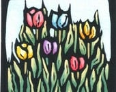 Original Linocut with Tulips by Ken Swanson (1005)
