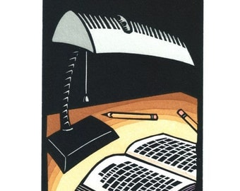 Original Linocut of Book and Lamp by Ken Swasnon (0610)