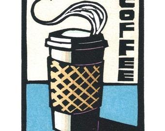Original Linocut of Cup of Coffee by Ken Swanson (0818)