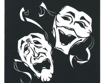 Original Linocut of the Masks Comedy and Tragedy by Ken Swanson (0202)