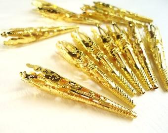 Long Gold Filigree Cone Bead Caps 8x42mm- (12 pcs)