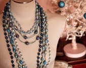 RESERVED for stephanie Handmade Ugandan WINTER BLUE Paper Bead Necklaces