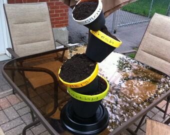 Backyard Tipsy Flower Pots
