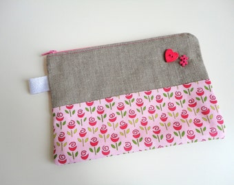 Rosebuds Zippered Pouch Small