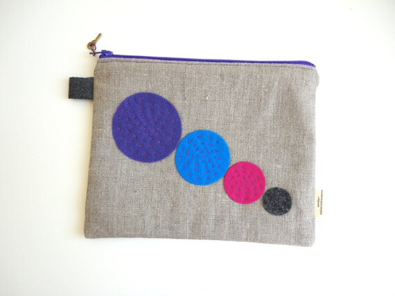Pop Zippered Pouch Small with Key Zipper Pull
