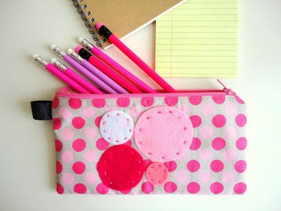 Pink Madness Pencil Case - Japanese fabric and Felt