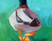 """Duck Back 11"""" by 14"""" Matted Signed Print Of Original Oil Painting"""